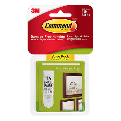 Command Picture Hanging Strips, White, Small, 16 Sets of Strips/Pack