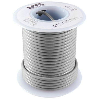 NTE Electronics WH22-08-1000 HOOK UP WIRE 300V STRANDED 22 GAUGE GRAY 1000'