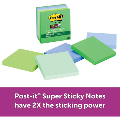 Post-it Super Sticky Recycled Notes 654-6SST, 3 in x 3 in