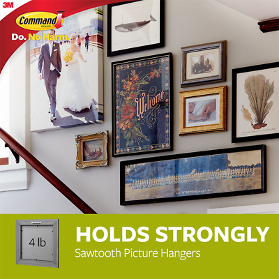 Command Sawtooth Picture Hangers, 2 hangers, 4 strips 17040-2ES