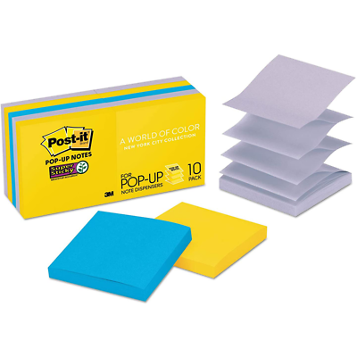 Post-it Super Sticky Pop-up Notes R330-10SSNY, 3 in x 3 in (76 mm x 76 mm)