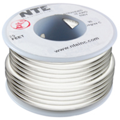 NTE Electronics WHS26-09-25 HOOK UP WIRE 300V SOLID 26 GAUGE WHITE 25'