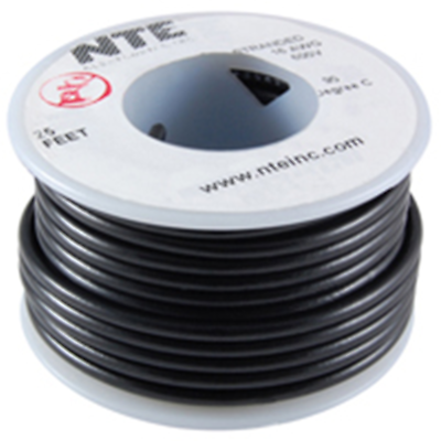 NTE Electronics  WT18-00-25 WIRE TEFLON 18 GAUGE BLACK 25'
