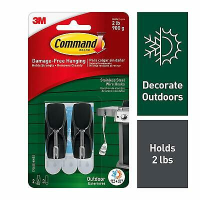 Command Outdoor Stainless Steel Wire Hooks with Foam Strips 17065S-AWES