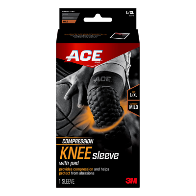ACE Brand Compression Knee Sleeve w Pad 901519, Large / X Large