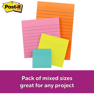 Post-it Super Sticky Notes 4622-SSMIA, Multi Sizes, Miami Collection