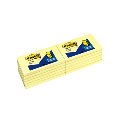 Post-it Pop-up Dispenser Notes R350-YW, 3 in x 5 in (7.62 cm x 12.7 cm) Canary