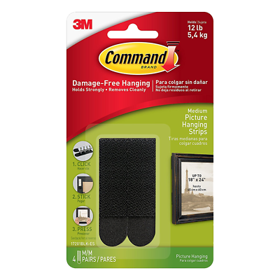 Command Medium Black Picture Hanging Strips 17201BLK-ES