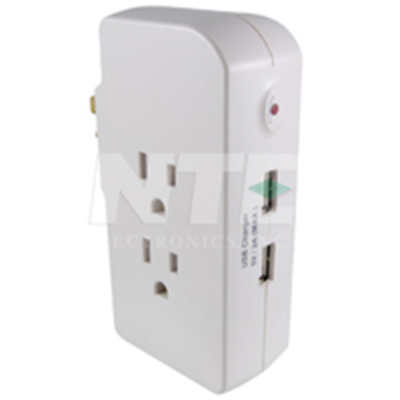 NTE Electronics EMF-3 SURGE PROTECTOR 3 OUTLET WALL TAP W/ 2 USB CHARGERS