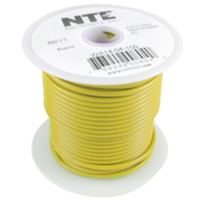 NTE Electronics WA10-04-100 HOOK UP WIRE AUTOMOTIVE 10GAUGE YELLOW STRANDED 100'