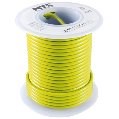 NTE WHS18-04-100 Hook Up Wire 300V Solid Type 18 Gauge 100 FT YELLOW
