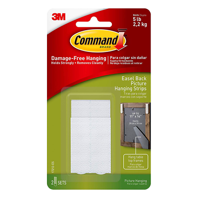Command Easel Back Picture Hanging Strips, 17212-ES, Medium, 2 Strips/Spacers