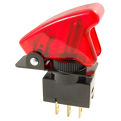 NTE Electronics 54-721 SWITCH TOGGLE 20A 12VDC METAL LEVER RED TIP SAFETY COVER