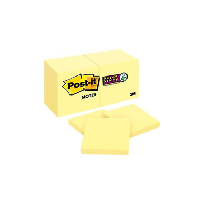Post-it Super Sticky Notes 622-12SSCY, 1 7/8 in x 1 7/8 in (47,6 mm x 47,6 mm)
