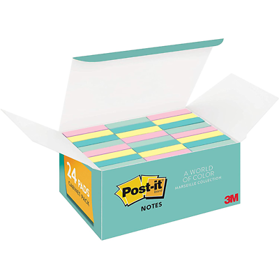 Post-it Notes 653-24APVAD, 1 3/8 in x 1 7/8 in (34,9 mm x 47,6 mm)