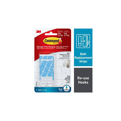 Command Water-Resistant Refill Strips-Assorted BATH22-ES