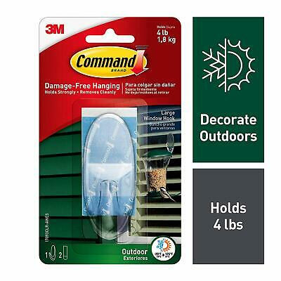 Command Outdoor Large Clear Window Hook with Clear Strips 17093CLR-AWES