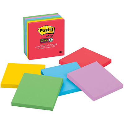 Post-it Super Sticky Notes 654-6SSAN, 3 in x 3 in (76 mm x 76 mm)