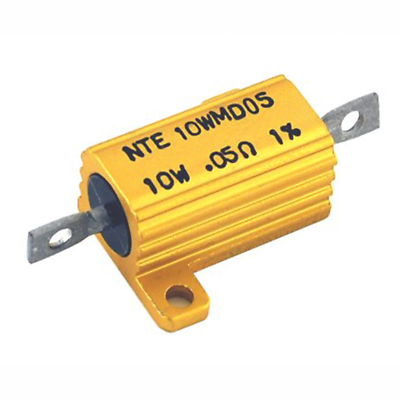 NTE Electronics 10WMD05 RESISTOR 10 WATT ALUMINUM HOUSED POWER WIREWOUND .05 OHM