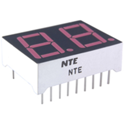 NTE Electronics NTE3074 LED Display Red 2-digit 0.560 Inch Seven Segment Common