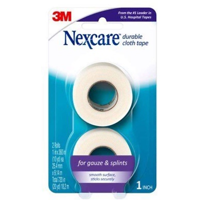 Nexcare Durable Cloth First Aid Tape, 791-2PK, 1 in x 360 in (25.4 mm x 9.14 mm)