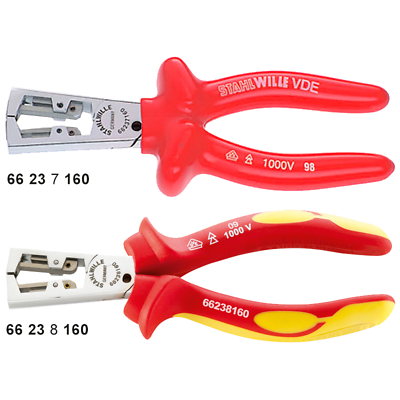 Stahlwille 66237160 6623 VDE Wire Stripping Pliers, 160mm, Dip-Coated