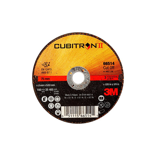 3M™ 7100094771 Cubitron™ II Cut-Off Wheel, 66514, T1, 3 in x .035 in x 3/8 in