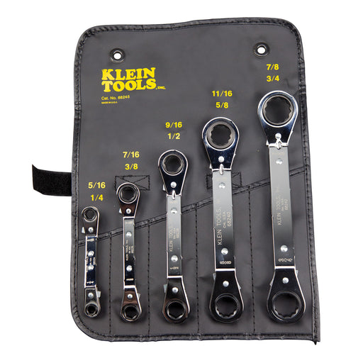 Klein Tools 68245 Fully Reversible Ratcheting Offset Box Wrench Set, 5 Piece