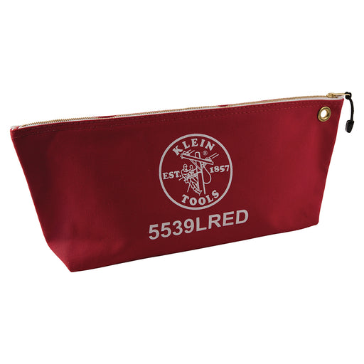 Klein Tools 5539LRED Canvas Zipper Pouch, 16-Inch Tool Bag Storage Organizer, Red