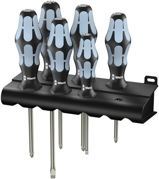 Wera 05032060001 Stainless Steel Slotted/Phillips Screwdriver Set + Rack, 6 Piece