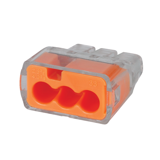 Ideal 30-1033 Push-In Wire Connector, Model 33, 3-Port Orange, 100/box