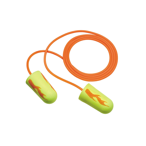 3M 311-1257 E-A-R Regular Size Soft Yellow Neon Blasts Corded Earplugs, 100 Pack