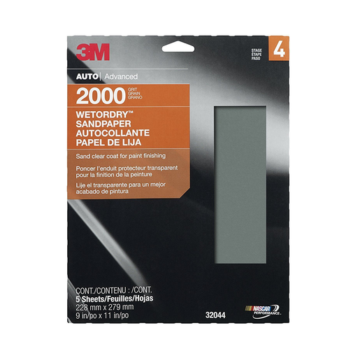 "3M 32044 9"" x 11"" Imperial Wetordry, 2000 Grit Sheet"