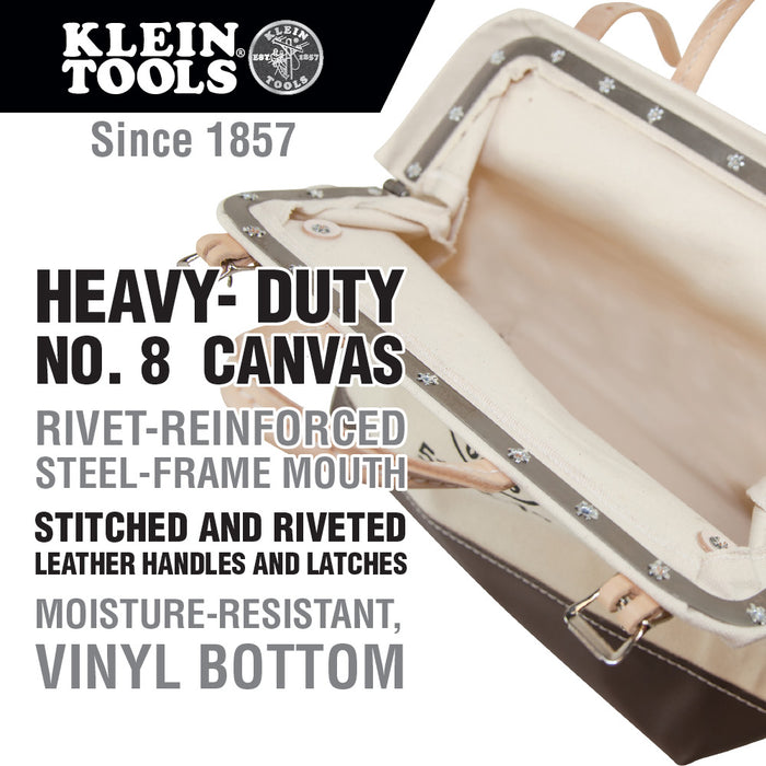 "Klein Tools 5102-16 16"" Canvas Tool Bag,Tan,16-Inch"