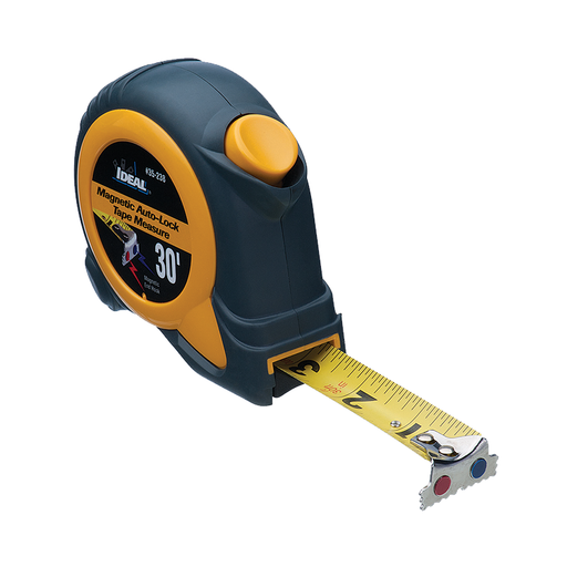 Ideal 35-238 30' Mag-Tape Tape Measure w/Magnetic Tip, Magnetic Self-Locking
