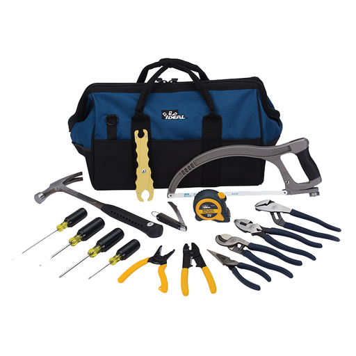 "Ideal 35-808 Large Mouth Bag Tool Kit, 18"", 16-Piece"
