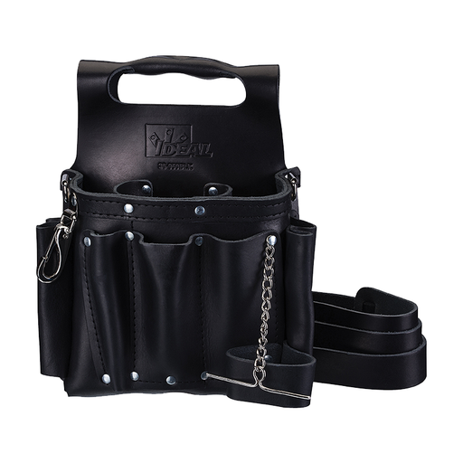 Ideal 35-950BLK Tuff-Tote Premium Black Leather Tool Pouch w/Strap