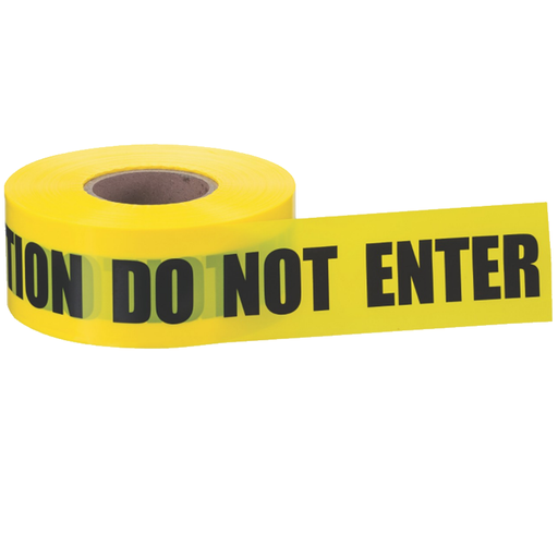 "Ideal 42-012 Barricade ""Caution Do Not Enter"" Tape, Yellow 3""x1000', 2 Mils"