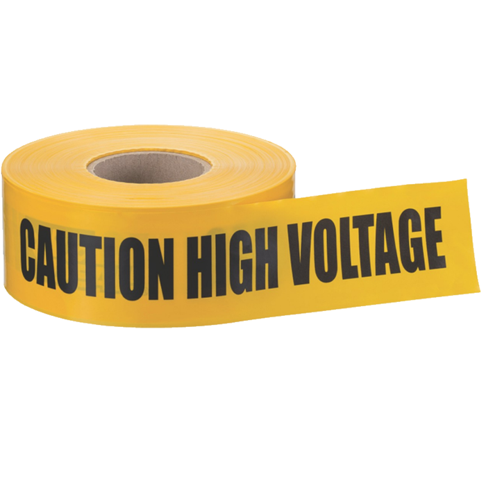 "Ideal 42-003 Barricade ""Caution High Voltage"" Tape, Yellow 3""x1000'"