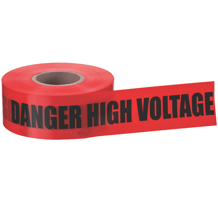 "Ideal 42-052 Barricade ""Danger High Voltage Keep Out"" Tape, Red 3""x1000'"