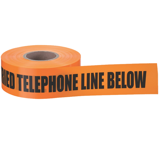 "Ideal 42-103 Underground ""Caution Buried Telephone Line"" Tape, Orange 3""x1000'"
