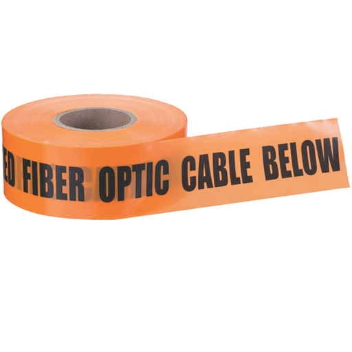 "Ideal 42-104 Underground ""Caution Buried Fiber OpticLine"" Tape, Orange 3""x1000'"