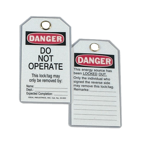 "Ideal 44-830 Lockout Tag Heavy Duty, ""Do Not Operate"", 5/Cards"