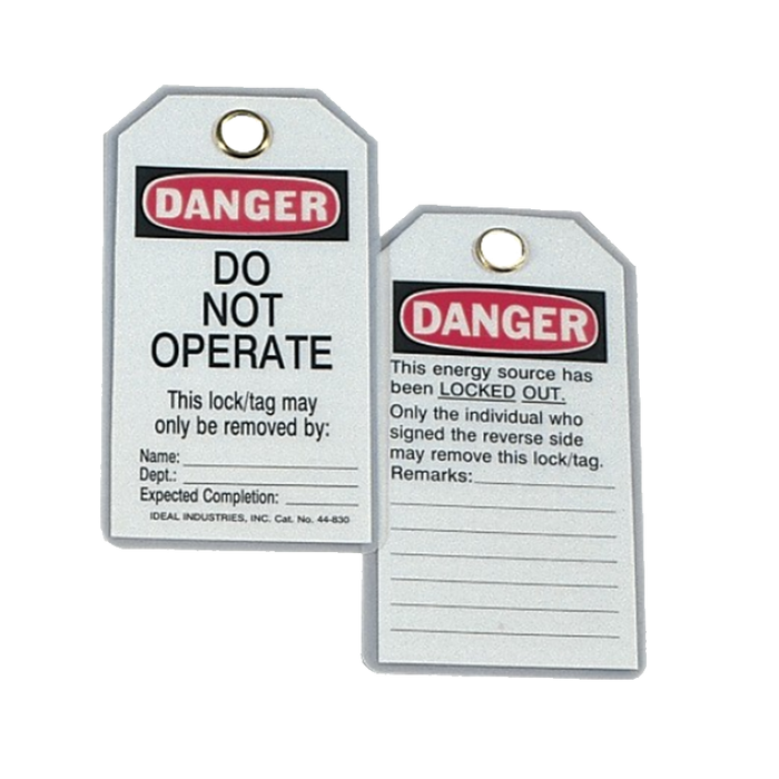 "Ideal 44-1830 Heavy-Duty Lockout Tag, ""Do Not Operate"", 100 Box"