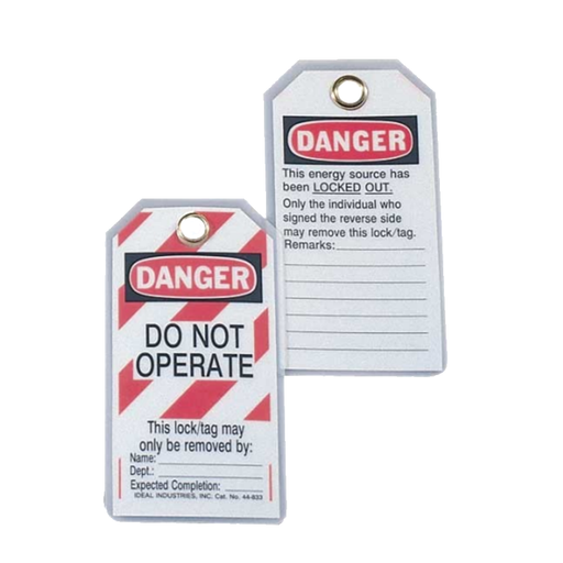 "Ideal 44-849 Lockout Tag Standard, ""Do Not Operate"", Striped, 25/Pkg."