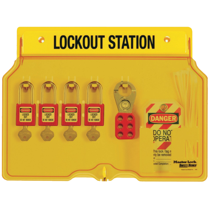 Ideal 44-778 Four-Lock Station, w/4 Locks, 12 Tags, 2 Hasps