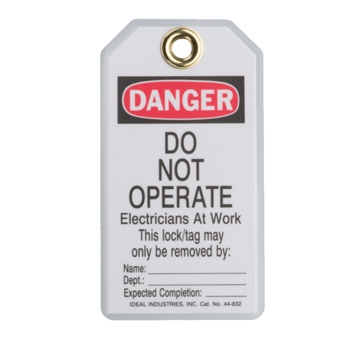 "Ideal 44-843 Lockout Tag Standard, ""Do Not Operate Elect. At Work"", 25/Pkg."