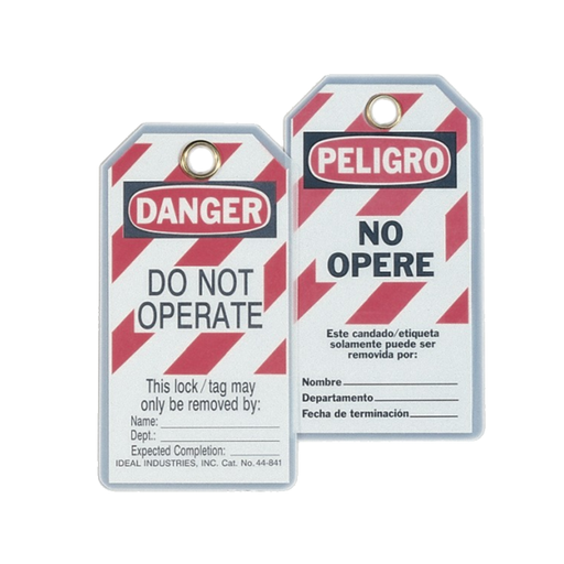 "Ideal 44-841 Lockout Tag Bilingual, ""Do Not Operate"", Striped, 5/Pkg."