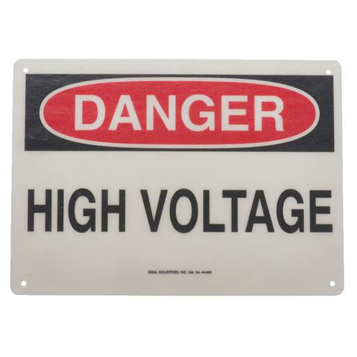 "Ideal 44-862 Safety Sign, ""Danger High Voltage"", Fiberglass"
