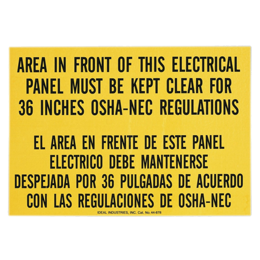 Ideal 44-878 Safety Sign, Bilingual, Osha Regulation, Adhesive